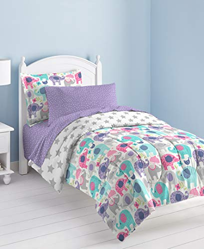 DreamGirl Elley Elephant Comforter Bedding Set, Viola, Poliestere e Misto Poliestere, Purple, Completo