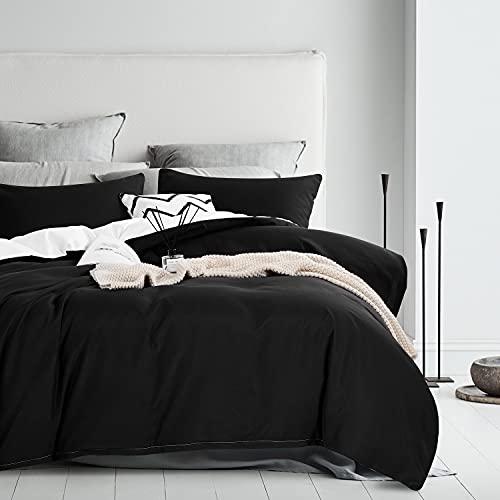 Boqingzhu Bettwäsche Schwarz Weiß 135x200cm Uni Wende Bettwäsche Set Microfaser Bettbezug und Kissenbezug 80x80cm mit Reißverschluss