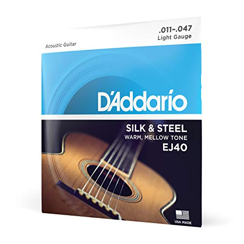 Cordas de guitarra folcladas de seda e aço D'Addario EJ40, 11-47