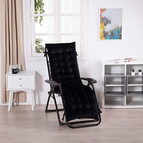 Cojines para tumbonas, cojín para silla mecedora con respaldo alto, grueso Patio acolchado portátil para jardín, cojín para silla Sofá de oficina (sin silla) Un negro 48x160 cm (19x63 pulgadas) Acceso