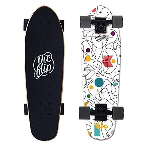 Tabla de surf de skateboard, tablero de surf principiante Cepillo de ejercicios Big Fish Board Big Skateboard Tablero de longboard para principiante completo Tablero corto con 7 capas arce canadiense ⭐
