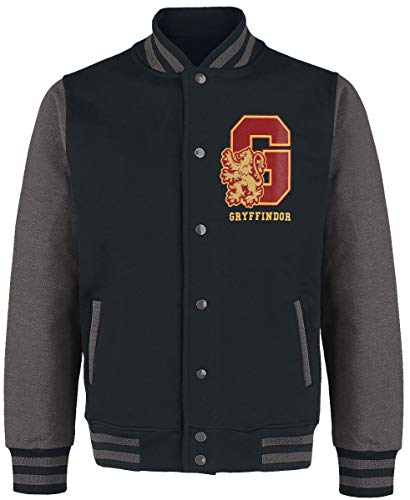 HARRY POTTER Gryffindor - Quidditch Hombre Chaqueta Universitaria jaspeado negro/gris L, 100% algodón,
