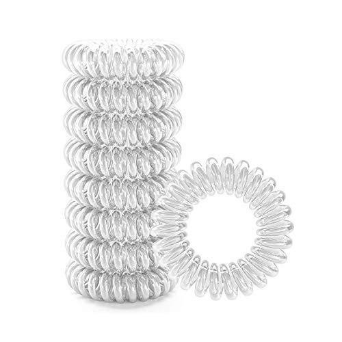 Spiralförmige Haargummis, 9 Stück, elastische Bommel, dehnbar, Haar-Accessoires (transparent)