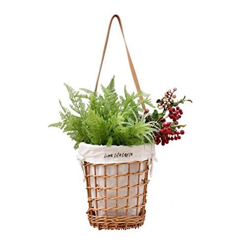 Exterior Jardinera colgante, cesta de mimbre, maceta colgante tejida a mano, cesta de almacenamiento de contenedores para arreglos florales para el jardín al aire libre del hogar Contenedor de plantas