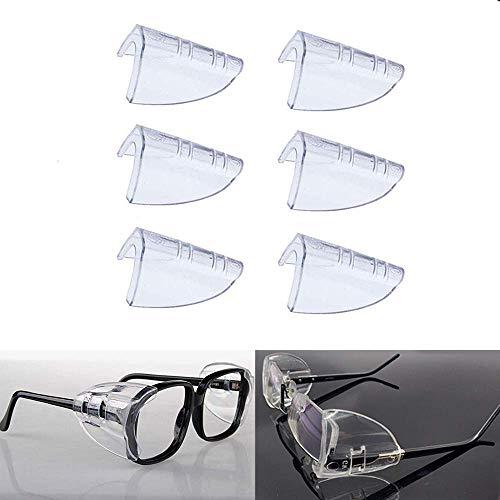 Gafas de seguridad para los ojos laterales, protección lateral transparente para gafas de seguridad, se adapta a la mayoría de las gafas (M-L)