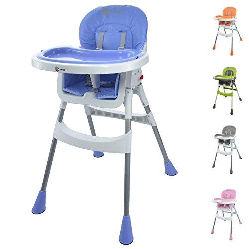 Clamaro 'babyHIGH' Baby und Kinder Hochstuhl klappbar ab 6 Monate mit 3-Fach verstellbarem 2in1 Tisch inkl. Tablett (herausnehmbar), 5-Punkt Gurt, Anti-Rutsch Standfüße, nur 4,6 kg - blau/weiß