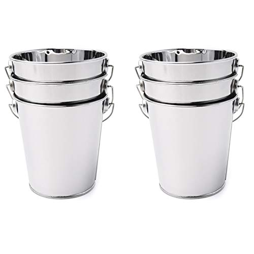 6Pcs Stainless Steel Bar Ice Bucket, Champagne Beer Wine Bucket Spit Barrel Container Mini Snack Supplies