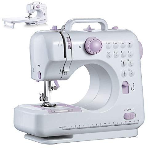 Fantastic Deal! LLP 12 Stitches Electronic Sewing Machines Sets, Household Small Electric Overlock Machine, Portable Stitches Embroidery Quilting Machine, White, for Adults Kids Girls