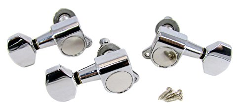 Chrome Sealed-Gear Tuners for 3-String Cigar Box Guitars - 2 Left / 1 Right