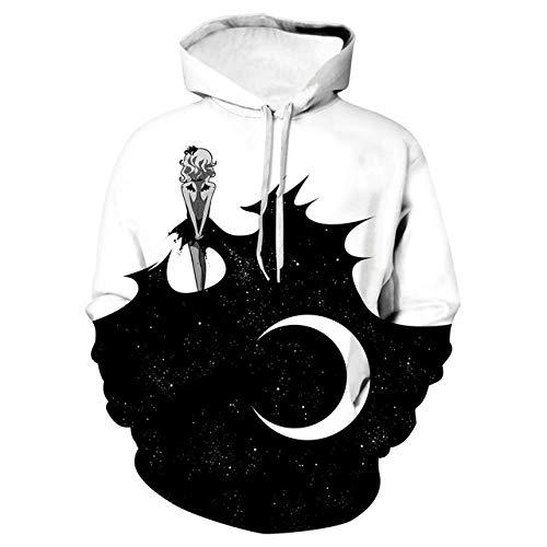 Simmia home Loses mit Kapuze Paarhemd, Baseballuniform, Schwarzweiss-Mond, M3D Print Hoodie,Long-Sleeved Hooded Top Sweatshirt with Pockets