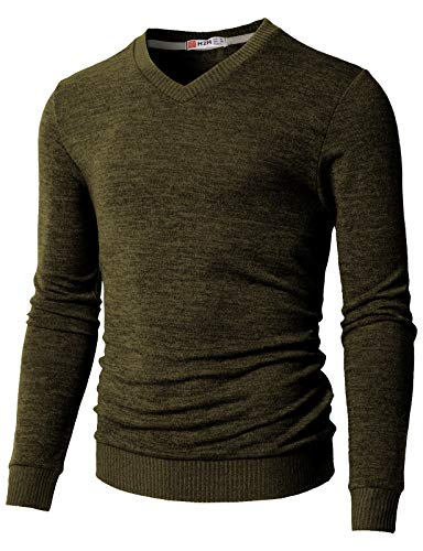 H2H Men's Casual Fashion Long Sleeves Pullover Sweater Assorted Color Knitwear Olive US M/Asia L (CMOSWL018)