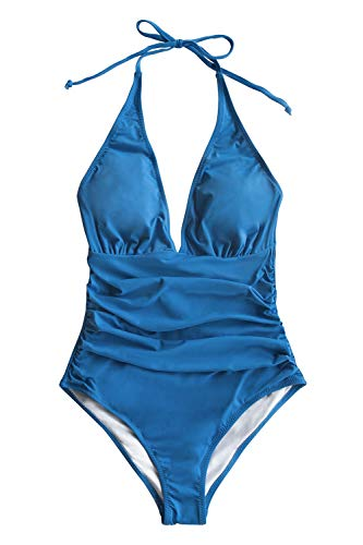 CUPSHE Women's Hlter V Neck Bathing Suit Shirring One Piece Swimsuit, XS Blue