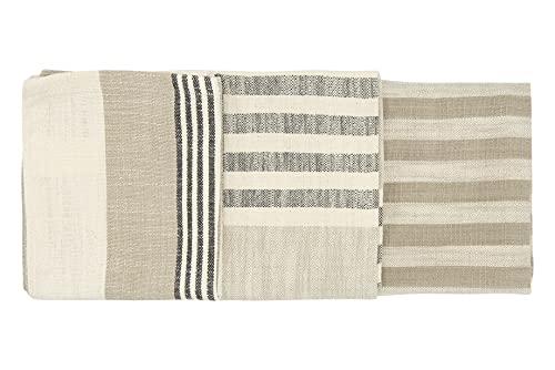 Creative Co-Op Tan & Grey Striped Cotton Tea Towels (Set of 3 Pieces) Entertaining Textiles, Grey, 3 Count