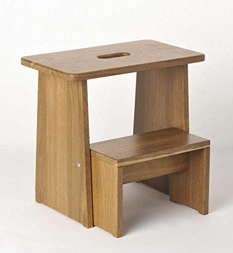 Tritthocker, Sitzhocker Holz, stabil in Eiche geräuchert Massivholz, für Kinder und die ganze Familie