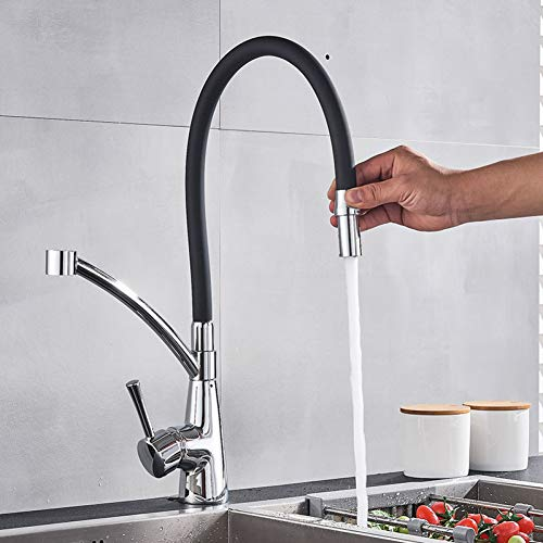 CHENF Kitchentap New Kitchen Faucet Torneira Chrome with Black Pull Down Free Rotation One Modes Hot Cold Mixer Crane Bath Sink Tap Faucets
