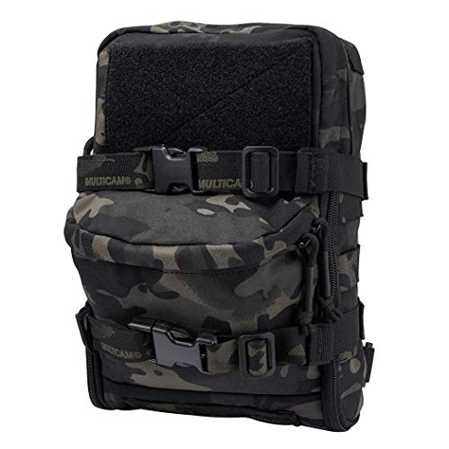 IDOGEAR Mini MOLLE Hydration Pouch Tactical Water Reservoir Bag Outdoor Water Bladder Carrier Pack for Tactical Backpack Gears 500D Nylon (B:Multicam Black)