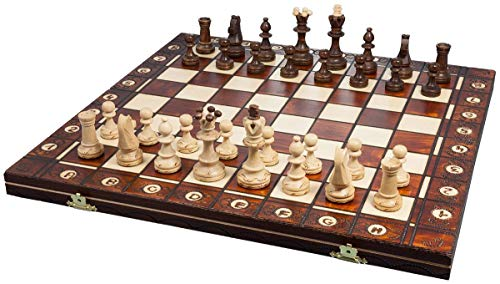 Handmade European Wooden Chess Set with 16 Inch Board and Hand Carved Chess Pieces