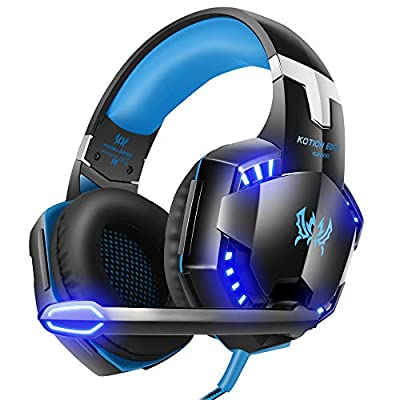 VersionTECH.Gaming headset for Xbox One PS4 PC,USB Headphones with Microphone,LED Light & Noise Cancelling & Surround bass Stereo for 3DS Nintendo Switch Gamers Games accessories (Blue)