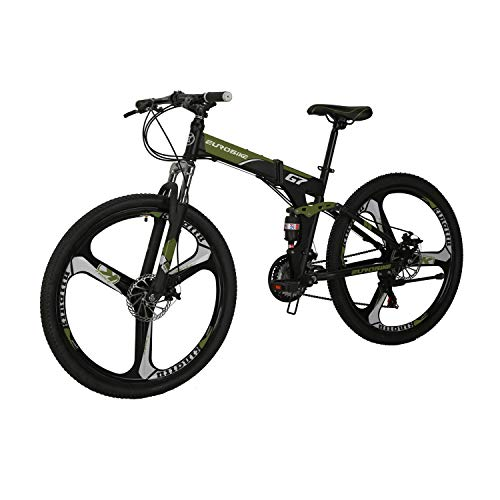 LZBIKE BICYCE G7 27.5inch Mountain Bike Floding Bike 3_spoke wheels shimano 21 Speed Full_suspension Folding Mountain Bike Mountain Bicycle Army Green
