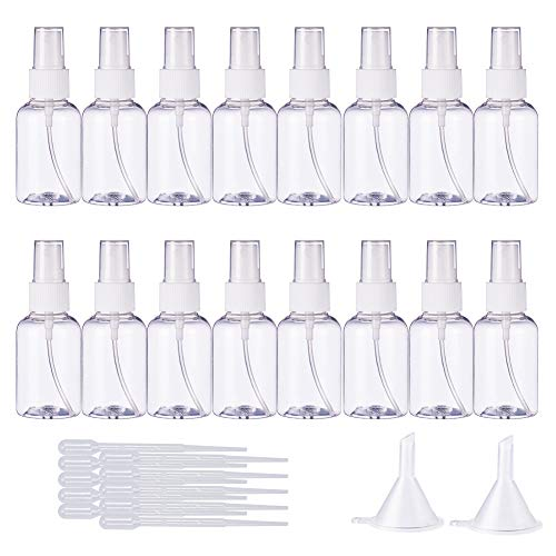 BENECREAT 20 Paquet de 50 ML (1,7oz) Brume en Plastique Vide Mini flacons de pulverisation Pompes d'atomiseur et 10 Paquets de Pipette en Plastique de 2ml et 2 entonnoirs pour Parfum, Lotion