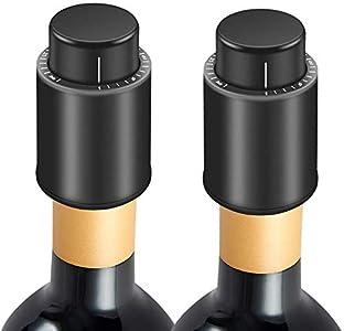Tapones de Botella para Champán/vino, 2 Unidades, Tapón de Vacío con Marcador de Fecha, Reutilizables, Tapón de Botella de Vino, Bomba de Vacío de Corcho, el Mejor Regalo para Los Amantes del Vino
