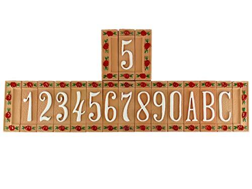 Hausnummern in Terrakotta und Buchstaben,handbemalte Zwickel nf.Verfügbare Zahlen von 0 bis 9.Buchstaben A-B-C und die 2 Seitenrahmen.Dübelgrößen:H 15cm Breite4,5cm,Dicke1,5cm