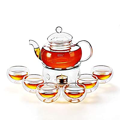 27 oz Glass Teapot Set Stovetop Safe Tea Infuser Maker with a Candle Warmer and 6 Double Wall Teacups?Blooming & Loose Leaf Tea Pot CJ-800ml