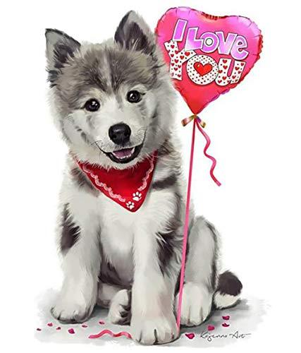 Encoco - Kit de pintura de diamante 5D para adultos, perro husky y globo completo para bordar pinturas con diamantes de imitación, para manualidades y decoración de pared del hogar (40 x 50 cm)