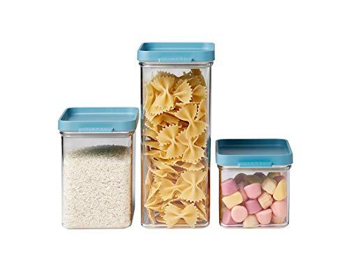 Mepal Vorratsdosen-Set Omnia rechteckig Nordic green – 700 ml, 1100 ml und 2000 ml - praktische Aufbewahrungsdosen für Lebensmittel – luftdichte Aufbewahrungsboxen geeignet für Küchenschrank und Regal