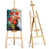 Studio Easel 1.75m Foldable Wooden Painting Drawing Stand Professional Painter Drawing Board Art Display Easel Stand Tall Studio Easels for Artist Sketching Wedding Sign