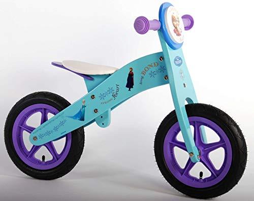 Elsa - Bicicleta sin Pedales (Ruedas de 12 Pulgadas, Madera), diseño de Frozen de Disney, Color Azul y Lila
