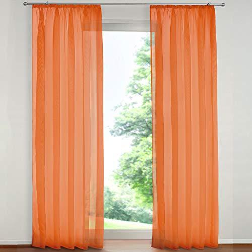 SIMPVALE 2 Pezzo Tenda Finestra Velata Elegante Voile con Ganci per Binario per Camera da Letto Soggiorno Balcone, Arancione, 140x270cm