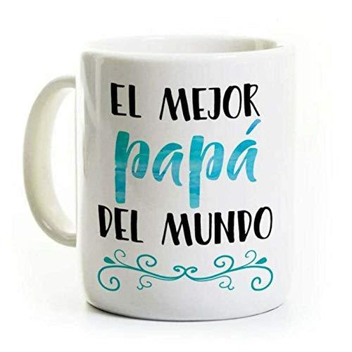N\A Divertida Taza de café, Regalo del día del Padre, Taza de café española, el Mejor papá del Mundo, Regalo de cumpleaños de la Novedad del Mejor papá del Mundo, Taza de té, 11 oz, Color Blanco