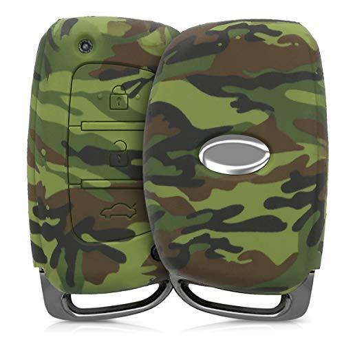 Coque pour Clef de Voiture Keyless Go Ford 3-Bouton en Silicone Noir-Vert Clair-Vert fonc/é /Étui de Protection Souple kwmobile Accessoire cl/é de Voiture pour Ford