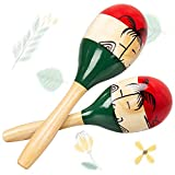 Maracas, 10 inch Wood Sand Hammer Maracas Shakers Rattles Percussion Instrument Educational Toy Latin Hand Percussion for Kids Party Game Playing, Set of 2