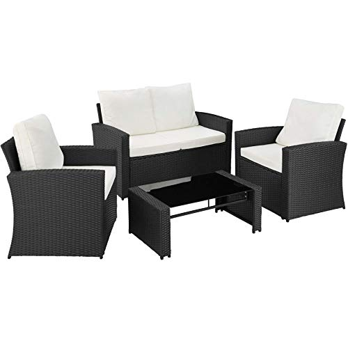 TecTake 800679 – Rattan Seating Set 5 PC, 2 Seats, 1 Sofa, 1 Table Glass Top, including Thick Cushions, Stainless Steel Screws (Black | No. 403078)