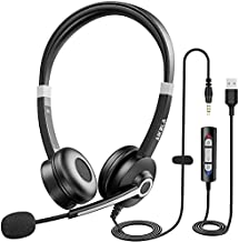 USB Headset with Microphone Noise Cancelling, AIKELA in-line 3.5mm Wired Computer Headset with Mute Function Plug and Play Adjustable Mic, Business PC Headset for PC & Mac, Skype Call Center Office