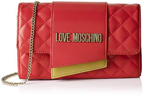 Love Moschino Borsa Quilted Nappa PU, bolso bandolera para Mujer, Negro (Nero), 6x14x23 centimeters (W x H x L)