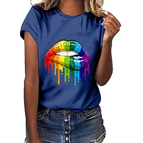 BaZhaHei Donna Maniche Corte,Divertenti Vintage Tumblr Magliette Donna Manica Corte estive Ragazza t Shirt Donna Maglietta Stampata a Maniche Corte Cuore a Maniche Corte da Donna