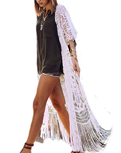 Bsubseach Women#039s Sexy White 3/4 Sleeve Lace Tassel Fringe Kimono Cardigan Long Swimsuit Bikini Cover Up