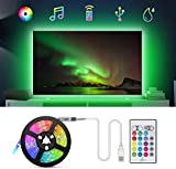 Tiras LED TV 2.2M, TASMOR Tira LED USB RGB 5050 Sincronización de Música Multicolor, Luces LED Habitación con Control Remoto, Luz LED TV Gaming con Autoadhesiva 3M para 30-60 Inchi TV/PC