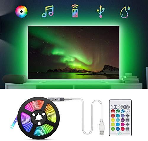 LED Strip 2m USB LED Streifen, TASMOR RGB LED TV Hintergrundbeleuchtung LED Lichterkette 16Farben und 4 Modi, Led Leiste Sync mit Musik LED Band mit Fernbedienung Lichtband für 40 bis 60 Zoll TV, PC