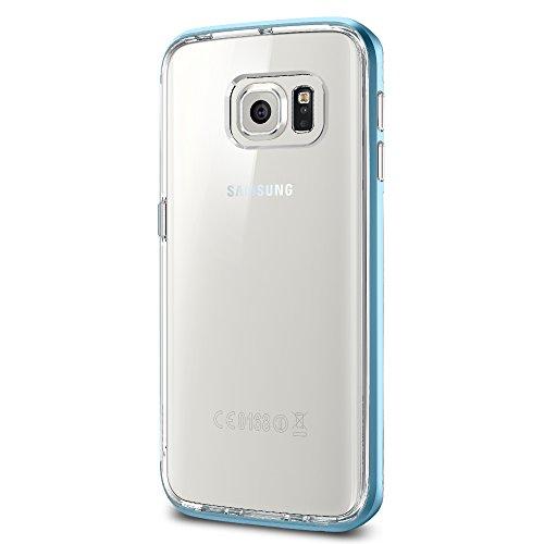 Spigen Schutzhülle Samsung Galaxy S6 Edge Hülle NEO HYBRID CC [Gummierte Druckknöpfe] - topazblau [Blue Topaz - SGP11527]