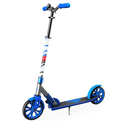 "Swagtron K8 Folding Kick Scooter with Kickstand for Kids & Teens, XL 8"" Big Wheels & ABEC-9 Bearings Lightweight, Height-Adjustable Stem, 220lb Rider Capacity (Blue)"