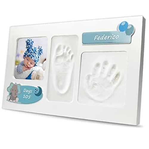 LALFOF Marco de huellas de bebes ELEPHANT con nombre. Kit para huella de manos y pies para recien nacidos.Ideal como regalos originales para lista de nacimiento niños y niñas