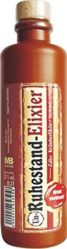 Edler Kräuterlikör aus dem Harz 0,2 L 32% vol. Tonflasche schwarz braun 19 cm Natur Holz Korken für echte Männer Männergeschenk verschiedene Anlässe (0,2L TF br. Ruhestand Elixier 75253)