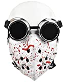 Punk Mask Men Masquerade Spike Half Face Mask and Steampunk Goggles Glasses for Costume Cosplay Motorcycle Biker Sport (White)