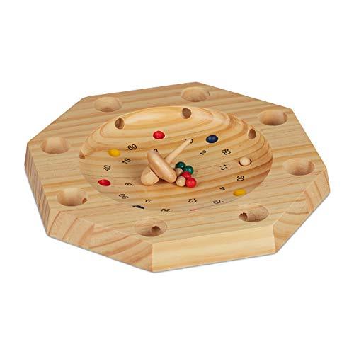 Relaxdays Tiroler Roulette, Holz, achteckig, 16 Löcher, Kinder & Erwachsene, kopfrechnen, Holzspiel, HxD: 3x28 cm, natur