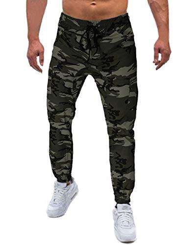 MODCHOK Herren Sporthose Trainingshose Jogginghosen Freizeithosen Chinohosen Cargo Camouflage Regular Fit Armeegrün Tarnung Large