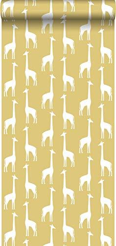 behang giraffen okergeel - 139059 - van ESTAhome